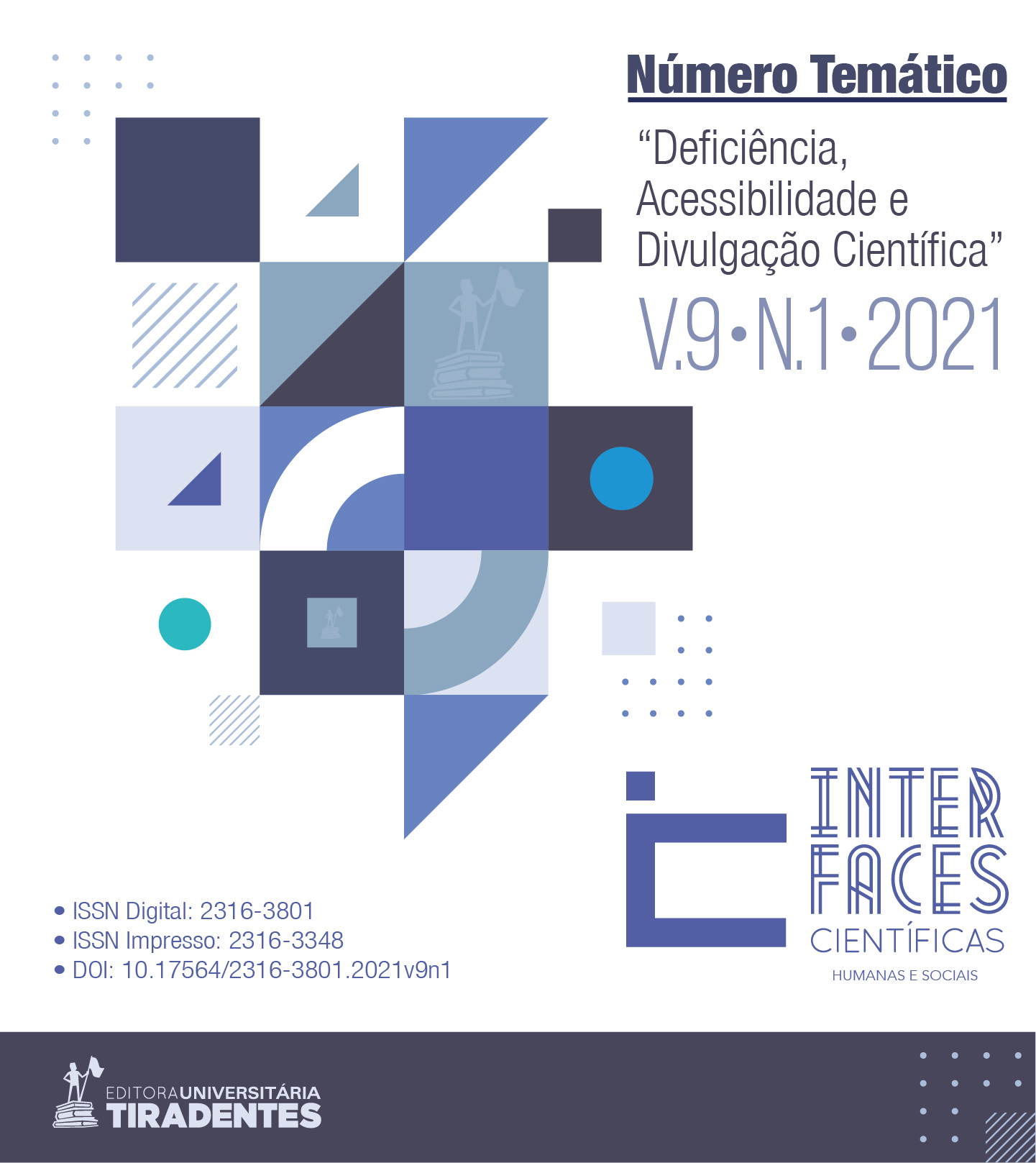 Capa do número temático Deficiência, Acessibilidade e Divulgação Científica, volume 9 número 1 ano de 2021
